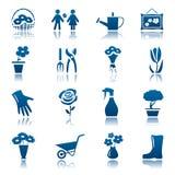 Flores e grupo de jardinagem do ícone Fotos de Stock Royalty Free