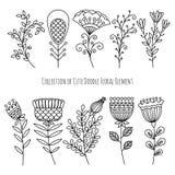 Flores e hierbas dibujadas mano del garabato libre illustration