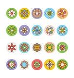 Flores e iconos coloreados florales 4 del vector Imagen de archivo libre de regalías