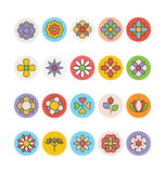 Flores e iconos coloreados florales 3 del vector Imagen de archivo