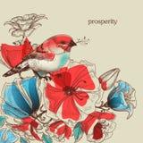 Flores e ilustração do pássaro Foto de Stock Royalty Free