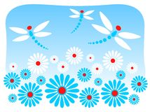 Flores e libélulas Fotografia de Stock