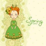Flores e menina da mola do cartão Fotos de Stock