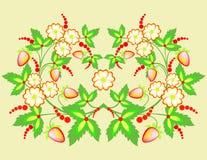 Flores e morangos Fotografia de Stock Royalty Free