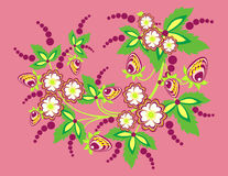 Flores e morangos abstratas Imagem de Stock