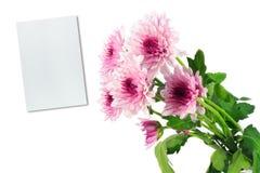 Flores e nota dos Mums Imagem de Stock Royalty Free