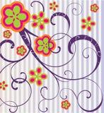 Flores e ondas. Ilustração Royalty Free