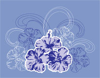 Flores e ondas tropicais. Ilustração Royalty Free