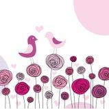 Flores e pássaros Fotografia de Stock