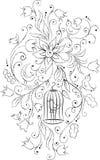 Flores e pássaros ilustração royalty free