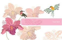 Flores e pássaros ilustração stock