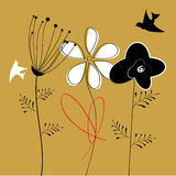 Flores e pássaros coloridos Fotografia de Stock Royalty Free
