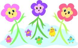 Flores e pássaros dos desenhos animados Fotografia de Stock