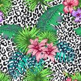 Flores e palma Imagem de Stock Royalty Free
