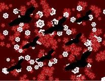 Flores e papel de parede japoneses dos guindastes ilustração do vetor
