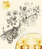 Flores e plantas que crescem na terra ilustração royalty free