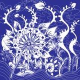 Flores e projeto da folha - garatujas azuis e cores brancas Imagens de Stock Royalty Free