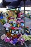 Flores e ramalhetes coloridos do outono no mercado Foto de Stock