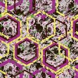 Flores e rombos pequenos tirados m?o no fundo textured de m?rmore ilustração do vetor