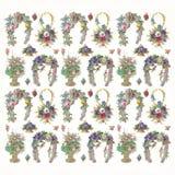 Flores e teste padrão em ferradura Imagem de Stock Royalty Free
