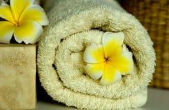 Flores e toalha do Frangipani Imagens de Stock Royalty Free