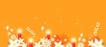 Flores e velas ilustração royalty free