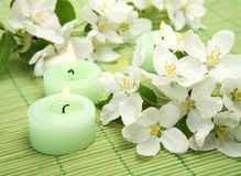 Flores e velas Imagens de Stock Royalty Free