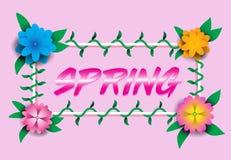 Flores e videiras na primavera com letras quadro E vagabundos cor-de-rosa ilustração stock