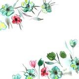 Flores elegantes pintados à mão da aquarela em cores cor-de-rosa e verdes invitation Cartão de casamento Cartão de aniversário ilustração stock