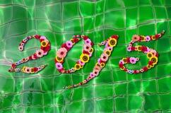 2015 flores em festivo em reflexões de Sun na água Backgro da associação Fotografia de Stock Royalty Free