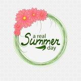 Flores em torno do círculo verde de um dia de verão ilustração do vetor