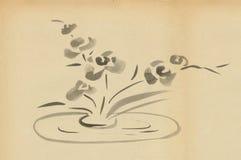 Flores em um fundo liso do vaso ilustração do vetor