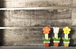 Flores em um potenciômetro no fundo de madeira Fotos de Stock Royalty Free