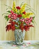 Flores em um vaso de cristal ilustração stock