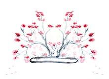 Flores em um vaso liso ilustração royalty free
