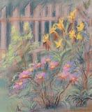 Flores em uma cerca ilustração do vetor
