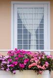 Flores en balcón Fotografía de archivo