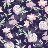 Flores en colores pastel del kimono del vector en inconsútil negro Fotografía de archivo libre de regalías
