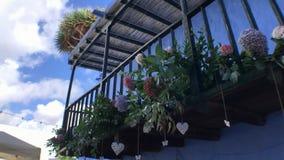 Flores en el balcón almacen de metraje de vídeo