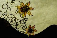 Flores en el papel stock de ilustración