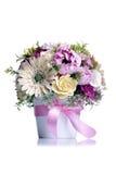 Flores en el pote blanco en fondo aislado con la reflexión Imagenes de archivo