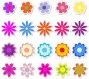 Flores en etiquetas engomadas