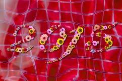 2015 flores en festivo en las reflexiones de Sun en el agua Backgro de la piscina Imagen de archivo libre de regalías