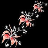 Flores en fondo negro stock de ilustración