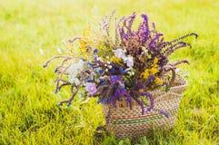 Flores en la cesta en la hierba Foto de archivo libre de regalías