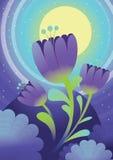 Flores en la noche de la luna Ilustración Imagen de archivo