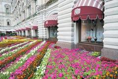 Flores en la Plaza Roja en Moscú Imagenes de archivo