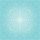 Flores en la turquesa, diseño floral azulverde de la mandala del fondo de la invitación del vintage stock de ilustración