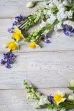 Flores en los tableros blancos Imagen de archivo libre de regalías