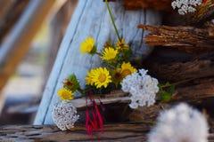 Flores en madera de deriva Imágenes de archivo libres de regalías